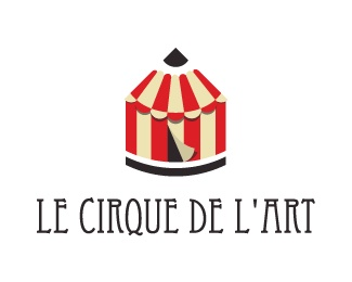 Le Cirque de l'Art Logo design - A play on words between circus and art. An icon representing a circus but also a pencil. Symbols of strong artistic expressions. Bright colors and clear message. Useful for agencies, art galleries, young and modern. Great for art events and art associations. Price $600.00
