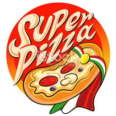 Edit Image #48257786: Superhero pizza label. Vector illustration isolated on a white background - iStock