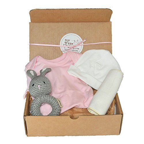 """An adorable Our Green House exclusive baby gift basket makes a perfect baby shower gift! This organic gift box of soft essentials with a fun toy is the perfect way to say """"Welcome!"""" to the newest baby in your life. Looking to add that little something extra to give your gift a personal... more details available at https://perfect-gifts.bestselleroutlets.com/gifts-for-babies/toys-games-gifts-for-babies/product-review-for-organic-baby-gift-box-under-50-newborn-essenti"""