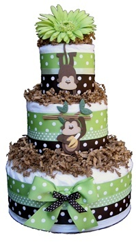 Baby boy monkey diaper cake
