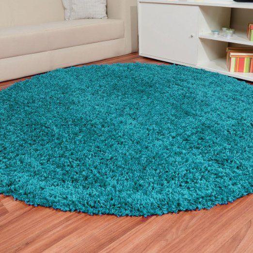 Shaggy Hochflor Teppich Fluffy türkis rund, Größe