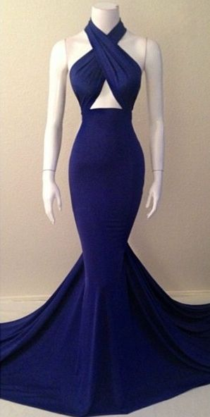 $99-Navy Blue Halter Neck Mermaid Evening Gowns Sexy Simple Long Prom Dresses