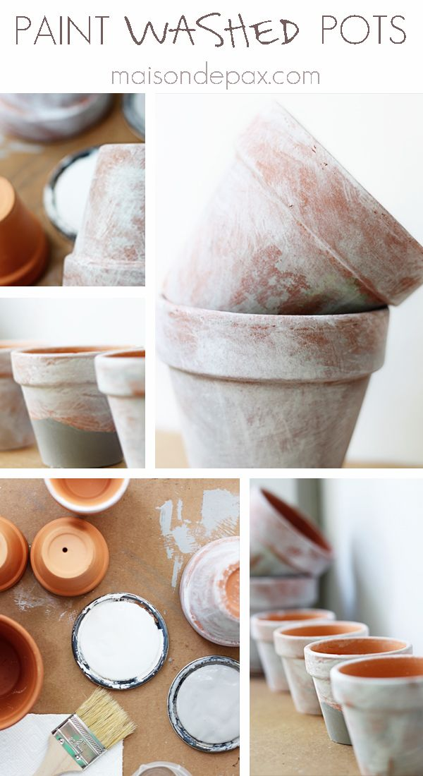 Give terra cotta pots a beautiful weathered look with this easy paint wash technique! These paint washed pots are great for both indoor and outdoor decor.
