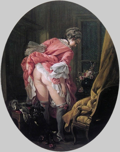 """""""La Jupe relevée"""" by François Boucher, 1760s. my fav pose to welcome the saddistic snoopers"""