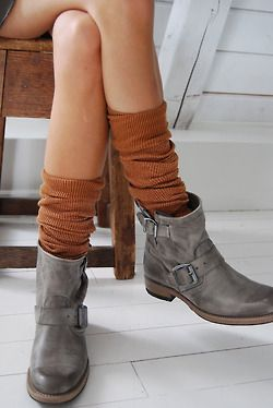 boots booties rugged knit knee highs: