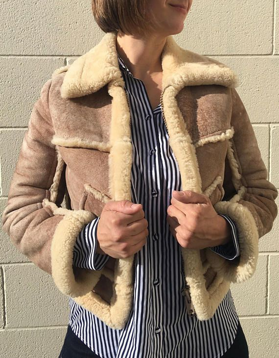 vintage cropped shearling jacket with fur collar  70s