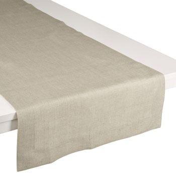 Camino de mesa de lino beige natural (zara home)