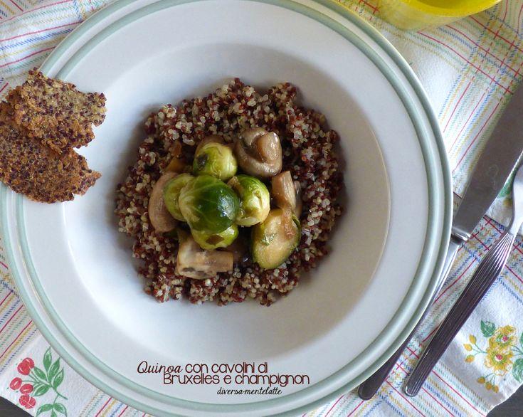 quinoa con cavolini di bruxelles e champignon #senzaglutine e #senzalattosio