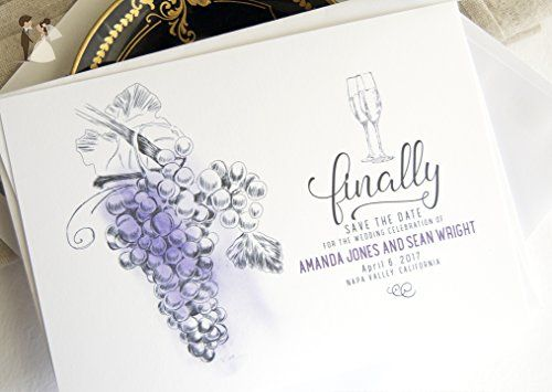 Vineyard Wedding, Grapes Save the Dates (Set of 25) - Wedding party invitations (*Amazon Partner-Link)