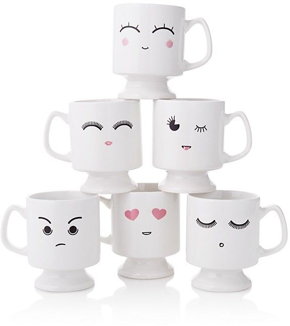 Your morning mug is in a mood. Featuring a pedestal silhouette, these stackable mugs bring a bit of digital charm to the table. Sparrow & Wren Emoji Mug - 100% Exclusive #gifts #homedecor #ad