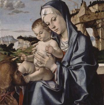 Bartolomeo Montagna (italiano, nato: circa 1450, è morto: 11 Ottobre, 1523)  - La Vergine col Bambino e un Santo - Walker Art Gallery, Liverpool