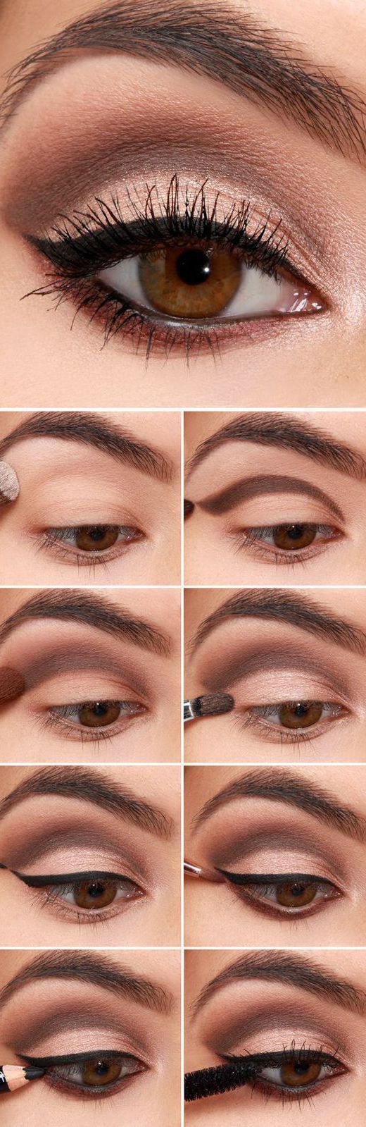 Easy Step-by-Step Eyeiner Tutorial for Beginners: #3. Easy Eyeliner Tutorials for Beginners – Brown Cut Crease with Eyeliner