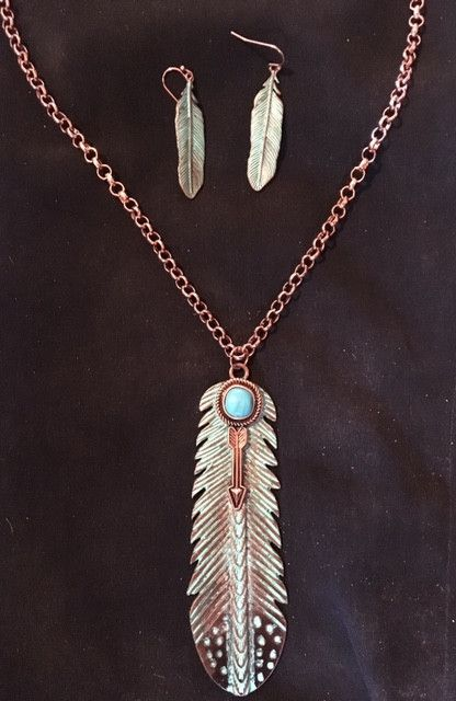 Western Copper & Turquoise Feather Necklace and Matching Earrings