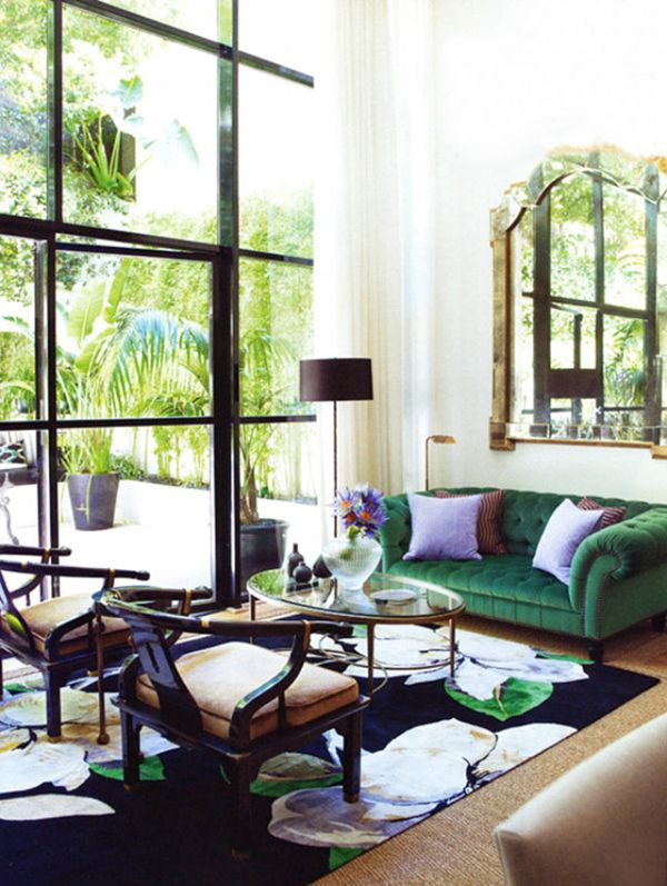 Velvet Goldmine Luxe Textured Sofas The Green Sofa Mirror Beautiful Carpet WINDOWS A Light And Airy Space That Isnt Boring Neutrals