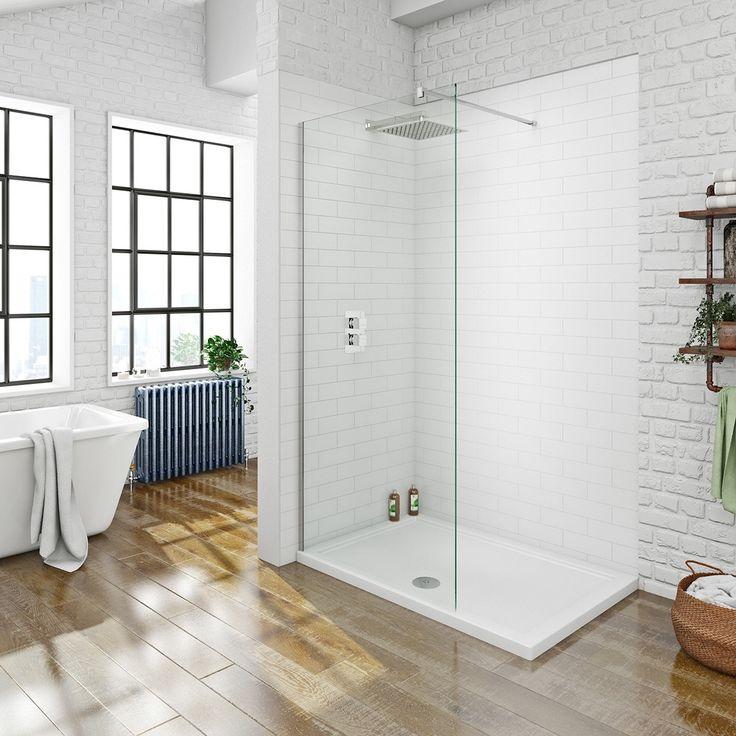 Mode luxury 8mm walk in shower glass panel with shower tray 1200 x 800 | VictoriaPlum.com