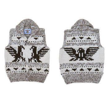 Hand Knit Cowichan Vest w zip