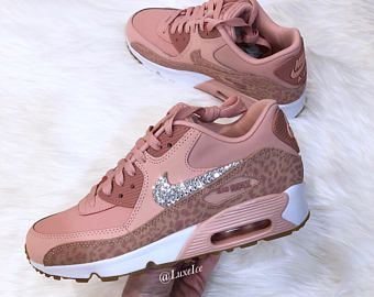 b3676c723626 Nike Air Max 90 Coral Stardust Rust Pink White Made with SWAROVSKI®  Crystals.