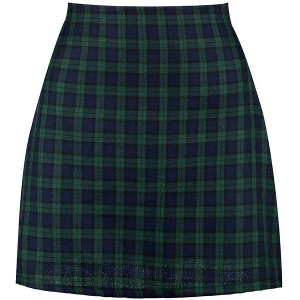 Boohoo Lexie Tartan Check Woven A Line Mini Skirt ($24) ❤ liked on Polyvore featuring skirts, mini skirts, tartan skirt, short blue skirt, tartan miniskirts, tartan mini skirt and plaid miniskirt