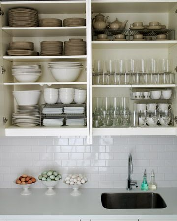 subway tile + open cabinets + farm fresh eggs. perfection.
