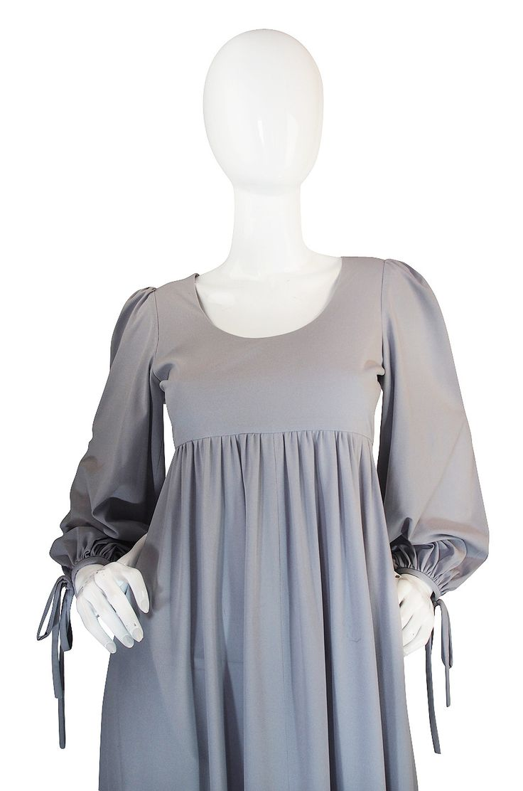 1960s Pretty Grey Blue Gina Fratini Maxi Dress image 4