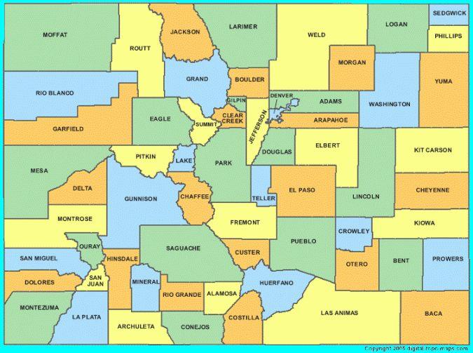 Colorado School District Map 54650 | USBDATA