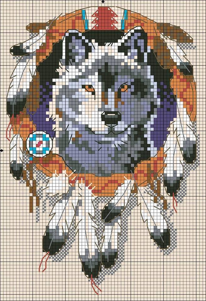 Ricamo e schemi a puntocroce gratuiti: Wolf spirit- scherma a punto croce in stile pellerossa#more#more
