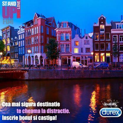 http://bit.ly/StandUpForSafeLove2014 Se anunta o distractie de neuitat! Cumpara produse Durex, inscrie bonul fiscal in aplicatie si poti castiga unul dintre cele 3 city-breaks @Amsterdam! Esti IN? #StandUpForSafeSex