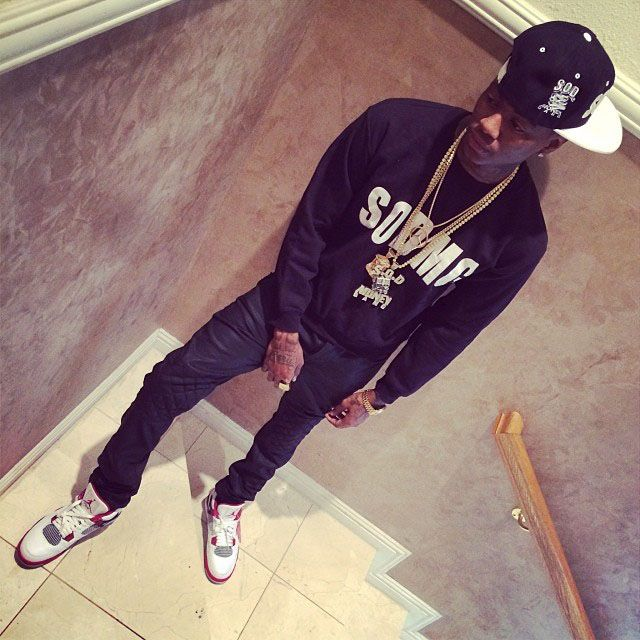 Soulja Boy wearing Air Jordan 4 Retro Fire Red | Celebrity ...