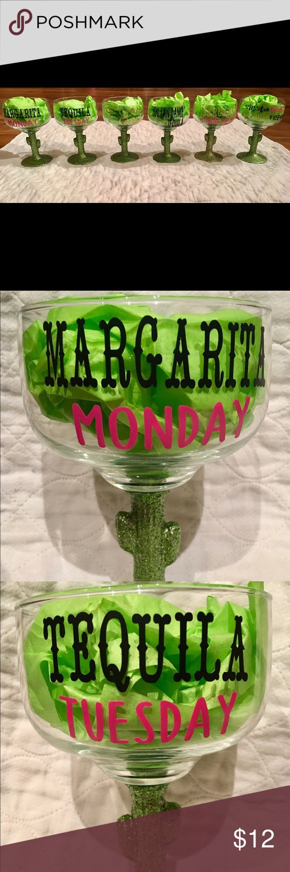 Margarita glasses! Custom made! Glittered at the bottom (it is completely sealed and does not come off), vinyl letters, hand wash is recommended! Lilly Pulitzer Accessories