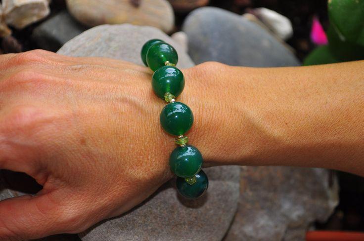 bracelet Green Aventurine and assembly 925 silver bracciale in aventurina e agata verde verde e montaggio in argento 925 di Oxidex su Etsy