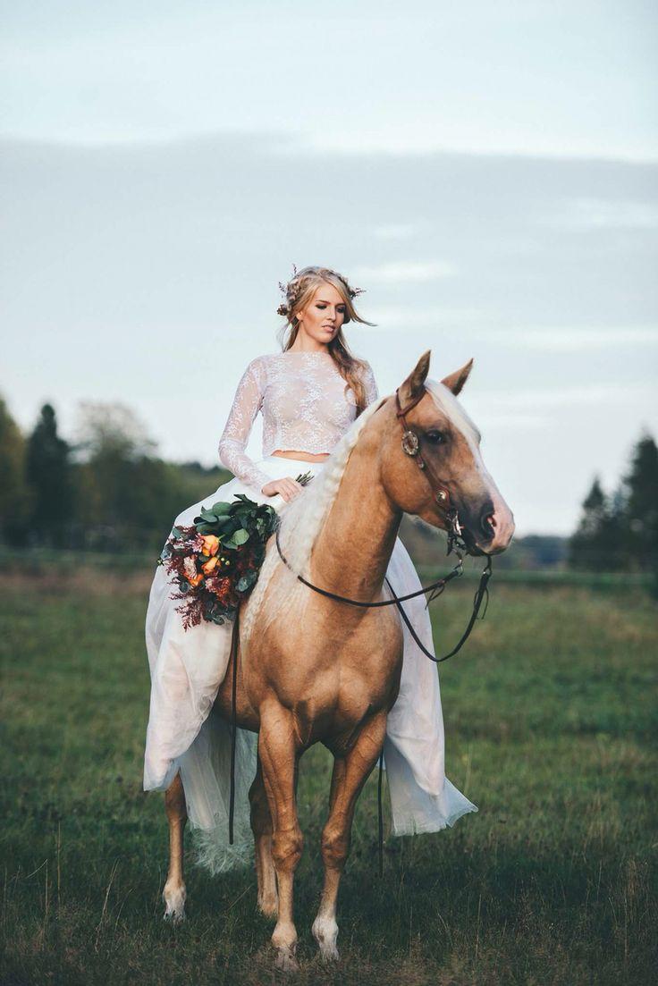 Bridal session on horse