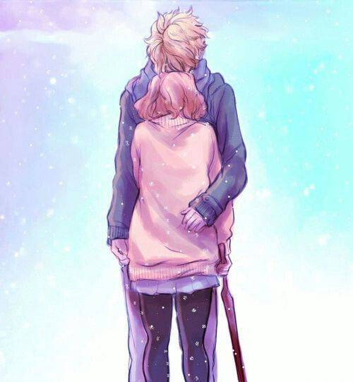 kyoukai no kanata// kuriyama mirai and kanbara akihito ❤️ oml, they are so cute together.