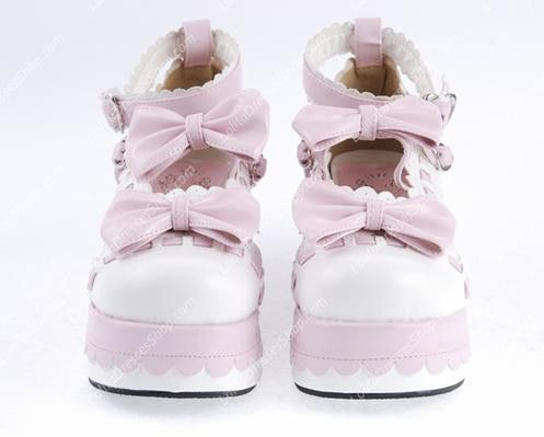 Pink and White Bowknot PU Sweet Lolita Shoes