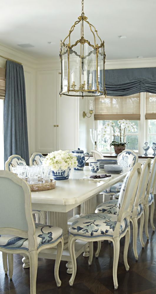 Coastal Blue And White Monday Dining RoomsDog