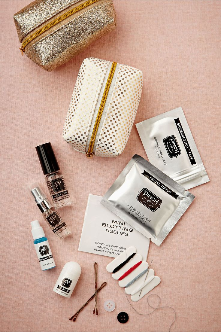 Set includes: deodorant towelette, stain remover, nail polish remover, pain reliever, dental floss, clear nail polish, lip balm, breath fres...