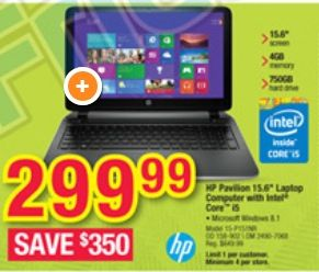 Office Depot Black Friday Deal: HP Pavilion Laptop – $299.99