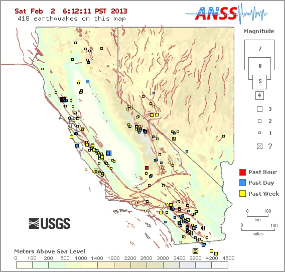 Earthquake index map