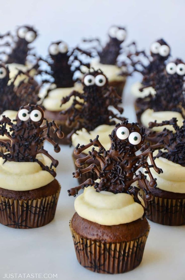 Add a spooky sweet to your ghoulish lineup with a recipe for Easy Halloween Cupcakes with Chocolate Spiders. #recipe from justataste.com #halloween #cupcakes