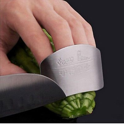 1x Chic Stainless Pure Steel Kitchen Finger Protect Safety Chop Slice Guard Tool