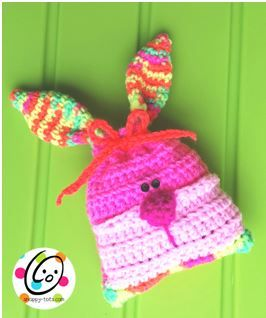 """No pastels for this bunny bag! Keeping it bright and cheery. Rebel Rabbit Want to print a copy or save the file? Click the """"print friendly"""" button at the bottom of this post. Materials Yarn: Worsted Weight. Red Heart Day Glow, Shocking Pink (dark pink), Pretty N Pink (medium pink), Petal Pink (light pink), Neon  {Read More...}"""