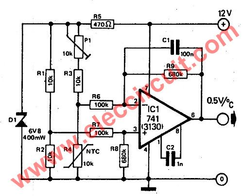 The simple temperature to voltage converter circuit or Electronic thermometer circuit,operate in a temperature range of 0 to 24 degrees,