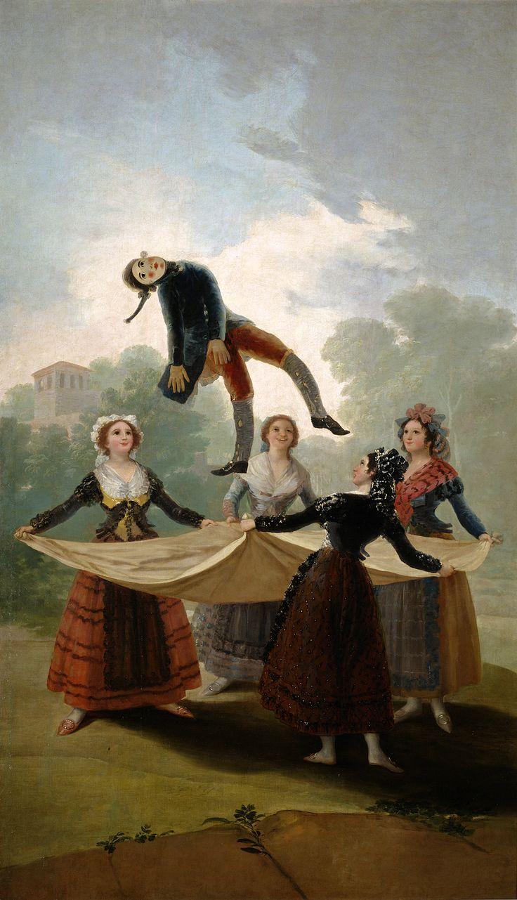 """Francisco de Goya: """"El pelele"""". Oil on canvas, 267 x 160 cm, 1791-92. Museo Nacional del Prado, Madrid, Spain"""