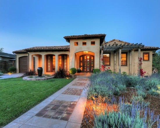 One story with tall ceilings home we 39 re building pinterest for Mediterranean home exterior design