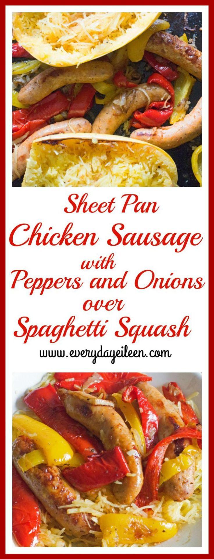 Sheet Pan Chicken Sausage mit Paprika und Zwiebel über Spaghetti Squash