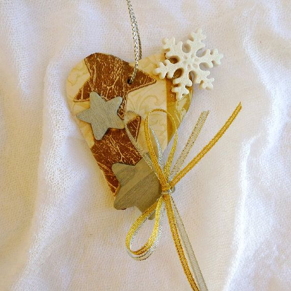 Silver and gold heart ornament good luck charm Christmas star tree decoration good luck gift ceramic ornament hanging Christmas heart decor