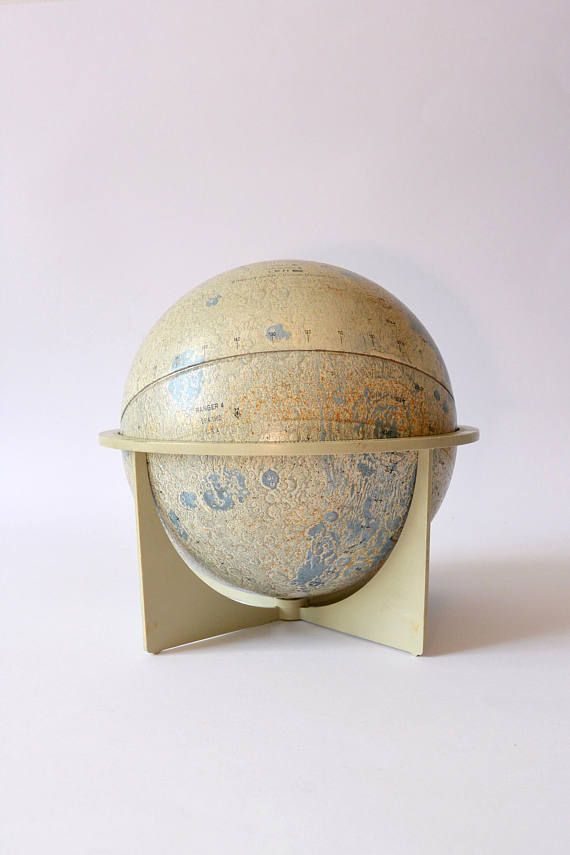 "Vintage Replogle maan Globe, 6"" Lunar Tin Globe, Collectible Retro Home en Office Decor, Space Astronomy wetenschap educatieve Gift"