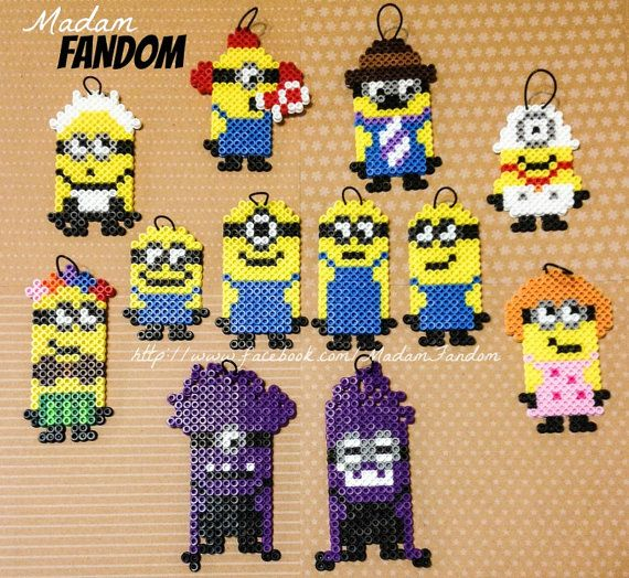 MINION Despicable Me Set of 12 Magnets or Ornaments (Perler Beads) - Price INCLUDES Shipping