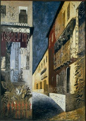 Cheltenham: Composite of Houses in Priory Parade and Elsewhere by John Piper. Government Art Collection.