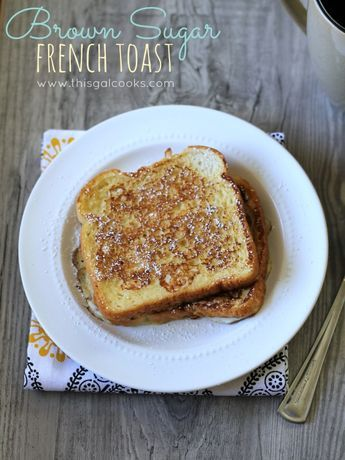 Serve this sweet Brown Sugar French Toast to your guests for breakfast. Top it with maple syrup and they'll love you forever.