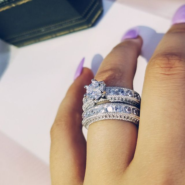 925 Sterling Silver Luxury Big Wedding Rings Wedding Ring Sets Wedding Rings